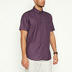 The Collection - Plum Diamond Spot Print Short Sleeve Shirt