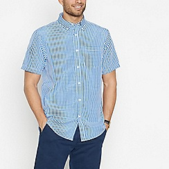 The Collection - Blue Gingham Check Short Sleeve Classic Fit Shirt