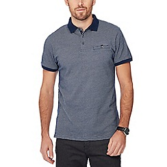 The Collection - Navy jacquard brick polo shirt