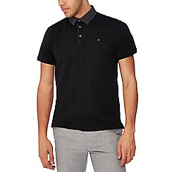 The Collection - Big and tall black spot trim polo shirt