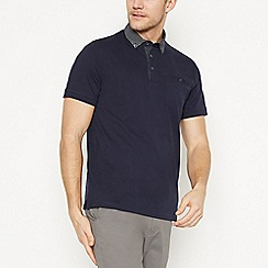 The Collection - Big and Tall Navy Spot Collar Cotton Polo Shirt
