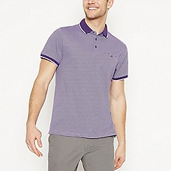 The Collection - Big and Tall Purple Fine Striped Cotton Polo Shirt
