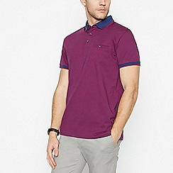 The Collection - Plum Fine Striped Cotton Polo Shirt