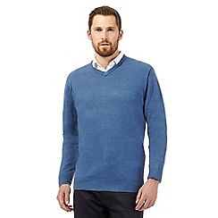 The Collection - Big and tall dark blue plain v neck jumper