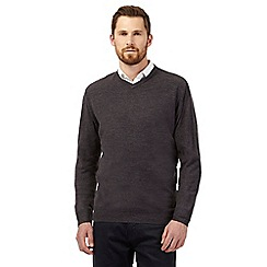 The Collection - Big and tall dark grey plain v neck jumper