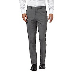 The Collection - Big and tall grey pindot flat front trousers