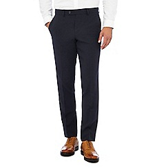 The Collection - Big and tall navy flat front slim trousers