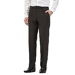 The Collection - Big and tall grey pleated front regular fit trousers