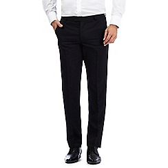 The Collection - Big and tall black herringbone flat front slim trousers