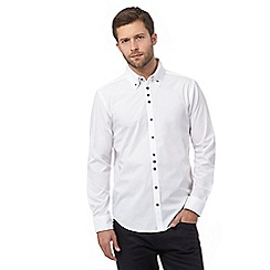 The Collection - White textured cuff and collar tailored fit shirt