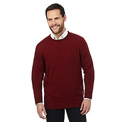 The Collection - Big and tall red ribbed trim lambswool blend jumper