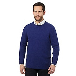 The Collection - Big and tall bright blue ribbed trim lambswool blend jumper