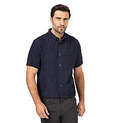 The Collection - Big and tall navy striped textured regular fit shirt