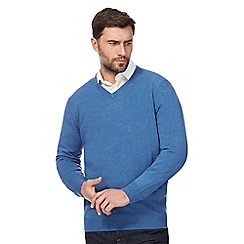 The Collection - Big and tall blue v neck jumper