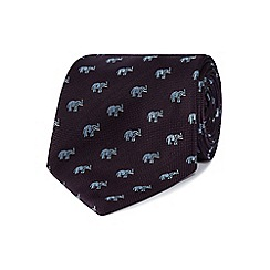 Osborne - Purple embroidered elephants silk tie