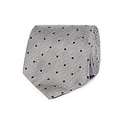 Hammond & Co. by Patrick Grant - Grey polka dot silk tie