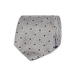 Hammond & Co. by Patrick Grant - Grey polka dot silk tie