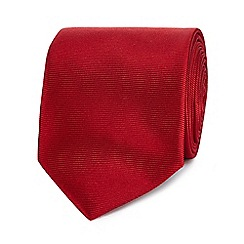 The Collection - Red ribbed slim silk tie