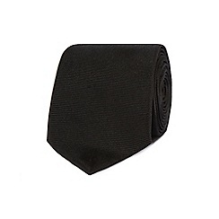 The Collection - Black ribbed slim silk tie