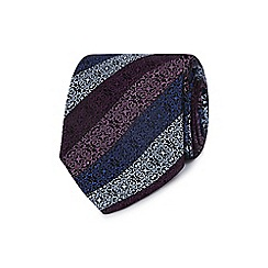 Jeff Banks - Purple geometric floral silk tie