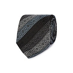 Jeff Banks - Grey geometric floral silk tie