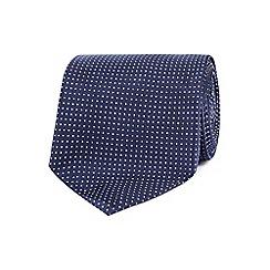 Osborne - Navy micro-dot silk tie