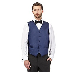 Black Tie - Big and tall navy textured line waistcoat