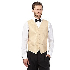 Black Tie - Big and tall gold jacquard waistcoat