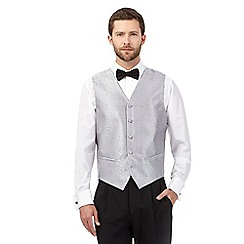 Black Tie - Big and tall silver jacquard waistcoat