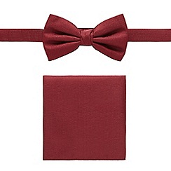 Black Tie - Dark red bow tie and pocket set