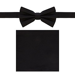 Black Tie - Black bow tie and pocket set