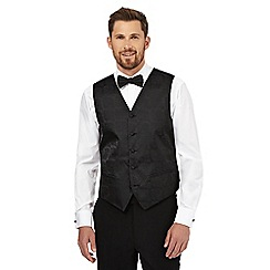 Black Tie - Big and tall black damask fleur waistcoat