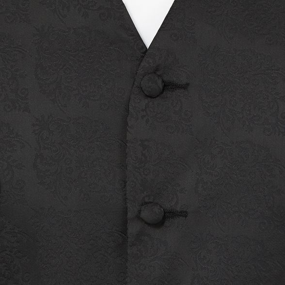 black fleur and tall Big Black damask Tie waistcoat 4nxS4wY