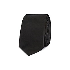 Red Herring - Black plain skinny tie
