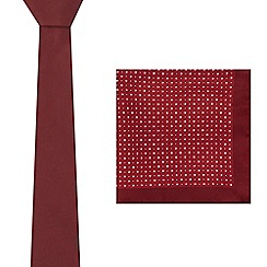Red Herring - Dark red tie and floral pocket square