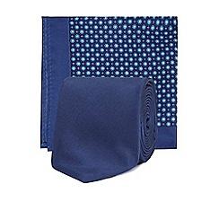 Red Herring - Navy skinny tie and pocket square set