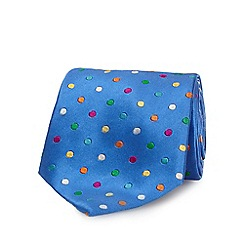 The Collection - Blue pure silk polka dot tie