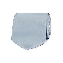 The Collection - Silver plain woven silk tie