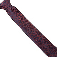 Black Tie - Navy and red baroque pattern tie