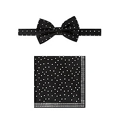 Black Tie - Black bowtie, pocket square and cufflink set