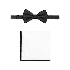 Black Tie - Black micro dot bow tie, pocket square and cufflink set