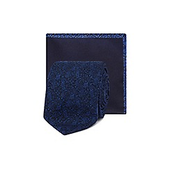 Red Herring - Navy floral jacquard skinny blade tie and pocket square
