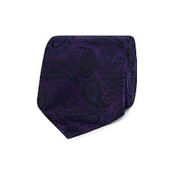 Jeff Banks - Purple silk paisley print tie