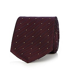 Hammond & Co. by Patrick Grant - Dark red dotted stripe pure silk tie