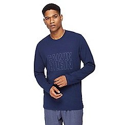 Calvin Klein - Navy long-sleeved slogan t-shirt