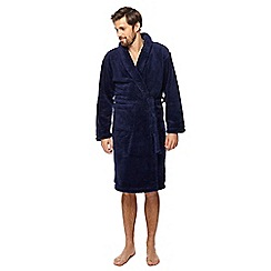 Maine New England - Big and tall navy fleece dressing gown