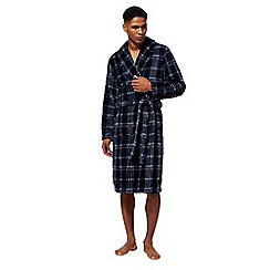 Maine New England - Navy checked fleece dressing gown