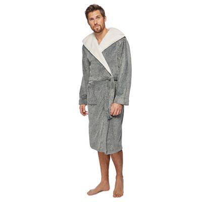 Rjrjohn Rocha Grey Sherpa Hooded Dressing Gown Debenhams