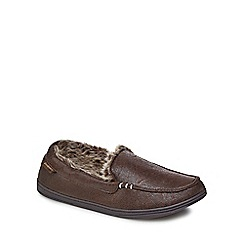 Totes - Brown distressed faux fur moccasin slippers