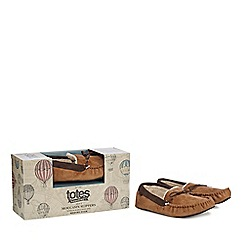 Totes - Tan moccasin slippers
